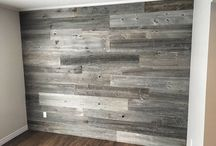 Barnboard walls and shelves