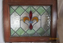 Old English stained glass windows, antique, vintage