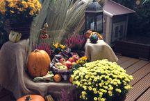 Herbstliche Kürbisdekoration für den Garten oder die Terrasse