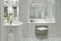 """McCracken Master Bathroom Renovation Ideas /  I want a  casually elegant, approachable, but refined new bathroom with a nod towards retro finishes but not too much to be """"stagey"""" looking.  I am in love with white marble and definitely want to utilize a lot of white marble but very worried that the room could look too busy/fussy. The plan is to have nothing on the walls(no pictures, art etc.) so that the room looks fresh, streamlined but not sparse.  (I have pictures of  vanities that I DO NOT want; and put in my comment sections.)"""