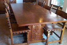 EPIC Monterey Dining Table Set / SEE beachdudeinc@gmail.com. EPIC 90-ish year old dining set from estate of original owner in Camarillo, California. In excellent, SOLID condition.  Looking for a new home.
