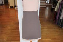 Lina Liri's Elegant High Fashion Brown & Pink Color Dress Classic Style,Straight Line. / Lina Liri's Elegant High Fashion Brown & Pink Color Dress Classic Style,Straight Line.