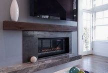 Fireplace with wood beam