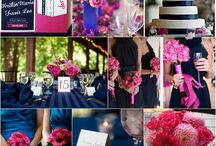 navy, pink and white themed wedding