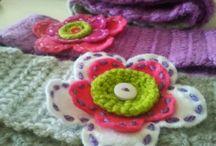 crochet head band, hat, mittens