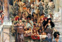 Sir Lawrence Alma-Tadema / Lawrence Alma-Tadema, est un peintre britannique d'origine néerlandaise. (8 janvier 1836 à Dronrijp, Pays-Bas - 25 juin 1912 à Wiesbaden, Allemagne) En 1876, il devient membre de l'Académie Royale. Influencé par le mouvement romantisme, il s'intéresse à l'histoire et à l'archéologie comme peuvent le témoigner ses diverses toiles