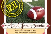Football 2016 / With football season in full swing its a great time to get a candle for that man cave! What better way to support your team and give your home that game day scent! Give Amber Ale, Any Given Sunday, Fresh Cut Grass, Crispy Bacon or Buttered Popcorn a try. And remember all with FREE SHIPPING. #nfl #football #anygivensunday #beer #mancave #mandles #candles #bacon #popcorn #amazon #prime #freeshipping #gameday #touchdown www.madisonvalleycandle.com