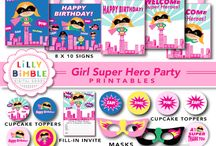 Lilly Bimble : Printables / Printable Parties including Cupcake toppers, wrappers, signs, banners.