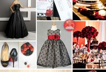 Red,black and white wedding