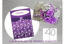40th Birthday party - Silver and purple / Table design - umdiadefesta ; Graphic design and party kit - Shop Decora a Festa ; Sweets and other food - Bolos e Bolinhos Atelier