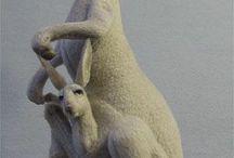 Felt animals: Kangaroos