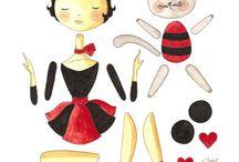 paper dolls, kokeshi et matriochka