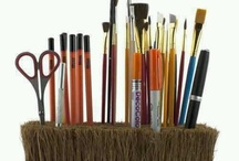 Clever Craft Room Storage / I love repurposing! Here are some clever ways to repurpose items while organizing craft supplies.