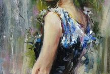 Lady looking back oil painting