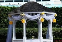 Rose Garden Weddings  / Exchange your vows in our Victorian Rose garden with the white gazebo and palm trees!