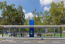 Bus stop in Aviles - Spain