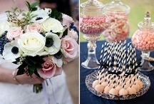 navy pink wedding