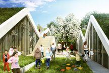 arquitectura topografica / proyectos de arquitectura excavados, modelados en tierra, techos verdes, paisaje