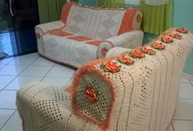 capa para sofá em crochê