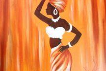 yağlıboya afrikalı kadınlar