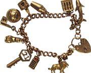 vintage English charms gold bracelets