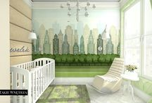 Central Park wallpaper in baby's room / Adorable baby's room in pastel green and white colors.