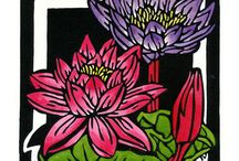Wildflower Squares / Limited Edition Handpainted Linocuts by Lynette Weir
