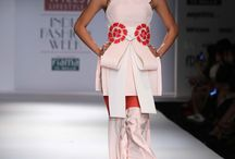 WIFW- Alpana Neeraj AND Atsu. / Alpana and  Neeraj's spring/summer collection is inspired by Japanese culture had sharp linear structures in bold colours with gigantic add ons and multiple frills and layers.  Atsu's spring/summer collection was dominated by pastel shades presented silk fabrics with utmost fluidity this year.