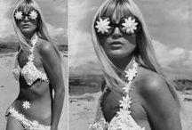1960s / Bright patterns, short hem lengths, and mod makeup.