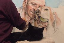 "Brewster / Progress of Brewster's huge 70"" X 40"" portrait"
