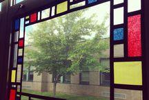décoration fenêtre mondrian