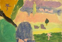 Νίκος Χατζηκυριάκος Γκίκας 21nipiagogeio.blogspot.gr / Πραγματοποιήσαμε επίσκεψη στο σπίτι του  Νίκου Χατζηκυριάκου - Γκίκα. Είδαμε  τον πίνακα: ''Γυναίκα και πεύκο''.Τον πίνακα αυτόν τον γνωρίσαμε αμέσως γιατί τον γνωρίσαμε ως παιχνίδι  στο site των εκπαιδευτικών προγραμμάτων του Μουσείου Μπενάκη.Μ΄ αυτόν τον πίνακα αποφασίσαμε να δουλέψουμε. Αρχίσαμε να σχεδιάζουμε με μολύβι,κίτρινο φόντο.Κάναμε τα χρώματα,Στη συνέχεια ζωγραφίσαμε το τοπίο.Κατόπιν  καθένας πρόσθεσε με την τεχνική του κολάζ τη γυναίκα ,το πεύκο και κάποια αφηρημένα σχήματα.