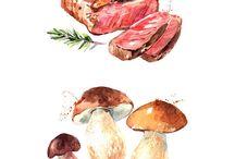 Foods watercolor