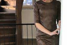Brown leatherlook dress