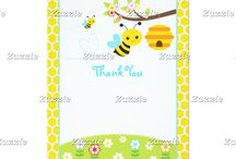 Bumble Bee Boy Baby Shower / This collection features a bumble bee, a branch, colourful flowers in blue, red, purple and orange, and a honeycomb. The background consist of white honeycombs on a yellow background. Perfect for Baby Shower!