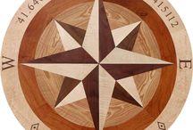 "Sheehan 48"" Wood Floor Inlay Compass Rose"