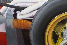EN ROUTE POUR MONZA / VOITURE/FERRARI/COURSE/MONZA/ PEINTURE Huile sur toile  120x60