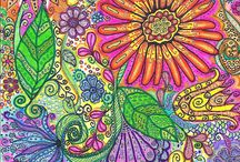 doodles, zentangles  in colour