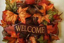Podzimní dekorace,věnce,závěsy