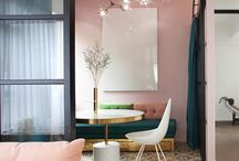 pink and blue design room