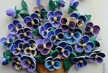 Quilling flowers in basket