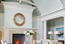 Living Room / coastal, Louis XVI, aqua, neutrals