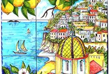Positano Italy Artistic Tiles / The beautiful scenery of Positano Coast has been hand painted into one collage on ceramic tiles that will make your home more unique. Here you will find a variety of unique murals that are our own creations or you can submit your own custom picture for us to paint on the tiles. You will find home décor such as small tiles, plates to hang on the wall along with vases and bells for decoration (upon request) as well as larger tiles that would look stunning in an entryway, or garden.