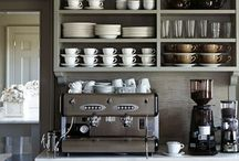 Coffee and tea area in kitchen inc open shelving