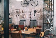 inspiration coffe shop / it is an inspiration on a coffee bar with industrial theme