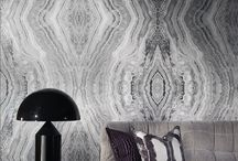 Surround Wallcovering Collection - 2014 / A group of 3 impressive, large-scale, digitally printed wallcovering designs. Two dramatic replicas of highly veined polished marble presented on both opalescent Mica and foiled grounds and an elegant moire inspired by the silk used to furnish the walls of Venetian palaces.