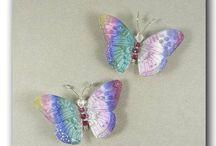 MAGNETS PAPILLONS SOIE / magnets papillon de soie avec système de double aimants pour accrocher dans les rideaux ou sur les abat-jour