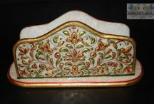 Napkin Holder / A beautiful different colored napken holder with natural stone work.