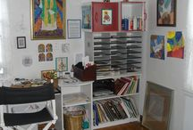 My art studio / I create at home when I'm not creating with the children in the Catholic Schools with my art camps.