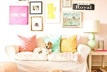 Pop of Color / Neutral Rooms with bright accents.